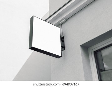 Modern empty outdoor signage, black and white  mockup to add company logo