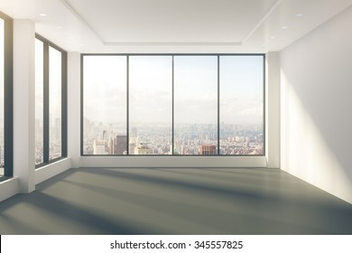 Modern empty room with windows in floor and city view 3D Render