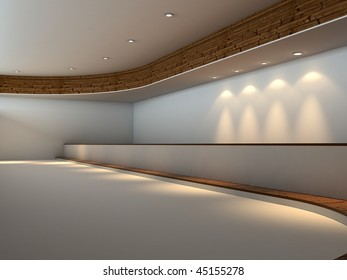 Modern empty white interior with wood and lights