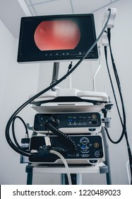 Modern endoscopy equipment kit. Video endoscopy system. Modern endoscope