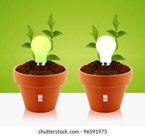 modern energy-saving concept,  bright bulb, garden pot and green leaves.