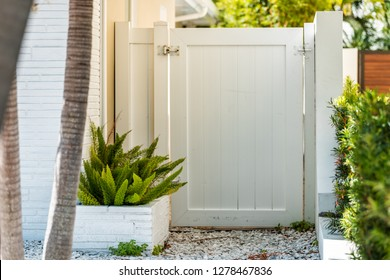Modern entrance architecture of beach house in Florida city during sunny day, property real estate with garden landscaping decoration and door gate to backyard