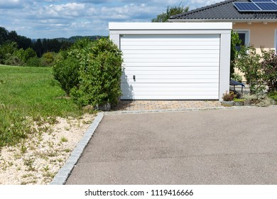 modern entrance area and garage in south germany countryside near city stuttgart