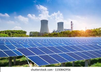 Modern environmental energy portfolio, solar panels and thermal power plants