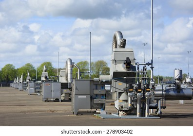 Modern equipment at a natural gas processing site in Groningen, Holland.