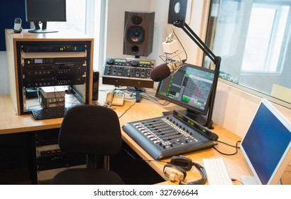 Modern equipment on desk in radio studio