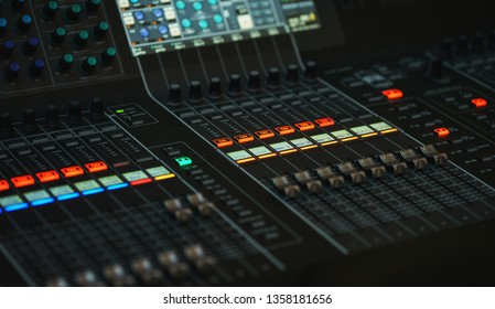 Modern equipment with a touchscreen and a large LCD screen. Equipment during the event. Sound design large concert or festival. Modern equipment with a touchscreen and a large LCD screen.