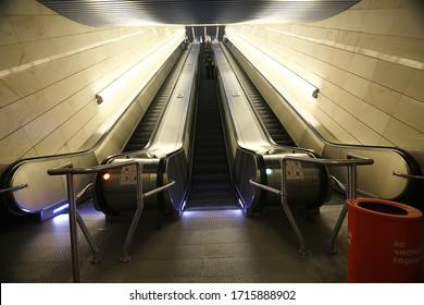 modern escalator abstract background, blurred light background geometry transport