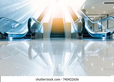 Modern escalator and architecture interior design