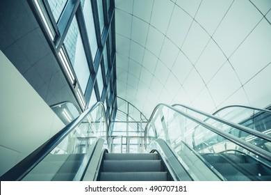 Modern escalator in the city.