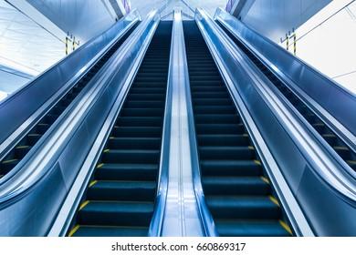 modern escalator in metro.