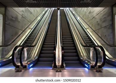 Modern escalator, underground public escalator