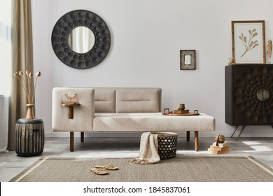 Modern ethnic living room interior with design chaise lounge, round mirror, furniture, carpet, decoration, stool and elegant personal accessories. Template. Stylish home decor. - Shutterstock ID 1845837061
