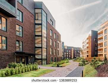 Modern european complex of apartment residential buildings. And outdoor facilities.