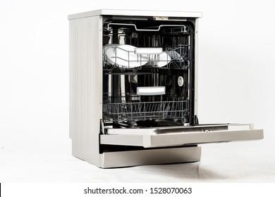 Modern european freestanding dishwasher machine isolated on white background
