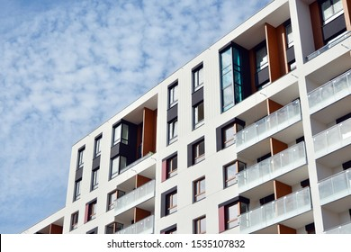 Modern European residential apartment buildings quarter. Abstract architecture, fragment of modern urban geometry.