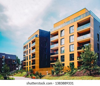 Modern European residential buildings quarter. Other outdoor facilities.