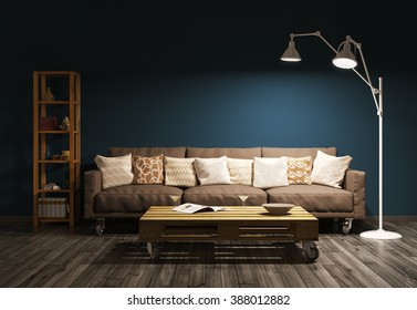 Modern evening interior of living room with sofa, floor lamp against of brown wall 3d render