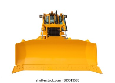 Modern excavator bulldozer with clipping path isolated on white background