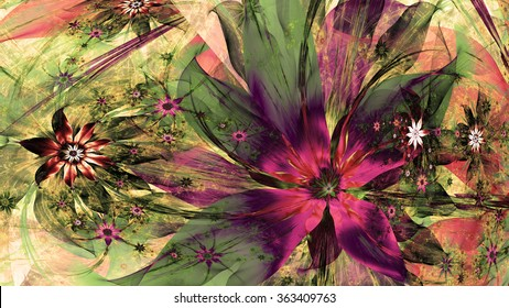 Modern exotic high resolution flower background with large wavy plastic flowers with natural looking 3D leaves and a field of smaller ones,all in dark vivid sepia tnted pink,green,purple,red