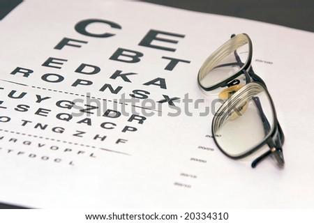 7e114550696 Modern Eyeglasses Resting On Eyechart Angle Stock Photo (Edit Now ...