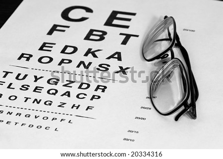 f000456f724 modern eyeglasses resting on eyechart with frame closed finished in black  and white