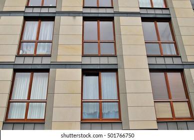 modern facade of apartment building