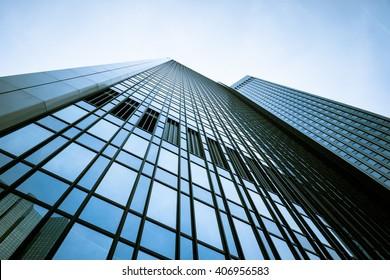 modern facade. building skyscrapers. office buildings. modern glass silhouettes of skyscrapers