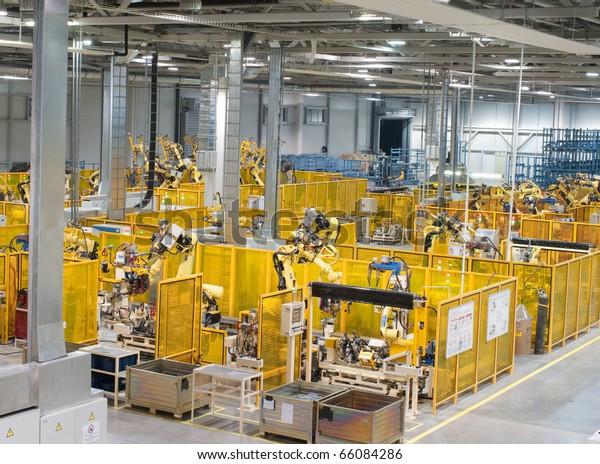 Modern factory, indoor hall ,workshop