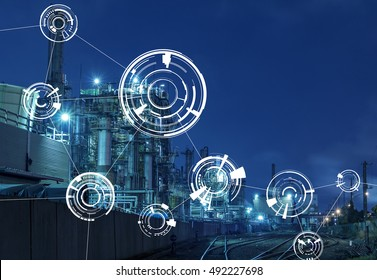modern factory night view and technical concept, abstract image visual