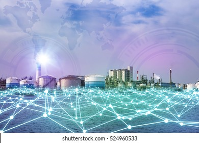 modern factory skyline and mesh network concept