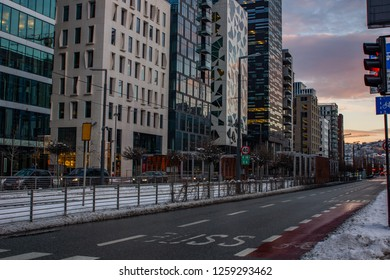 Modern famous barcode in Oslo, Norway at Sunset