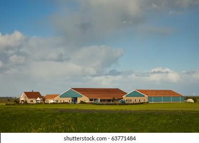 Modern Farm at Morning Light