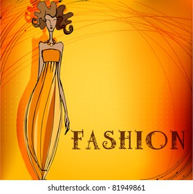 modern fashion background with elegant stylized fashion model