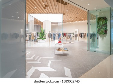 modern fashion store interior and mannequins