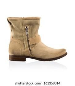 Modern fashionable women winter boot shot in studio