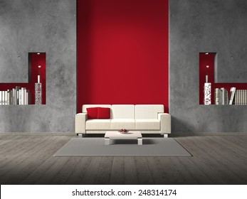 modern fictitious living room with sofa and copy space for your own images