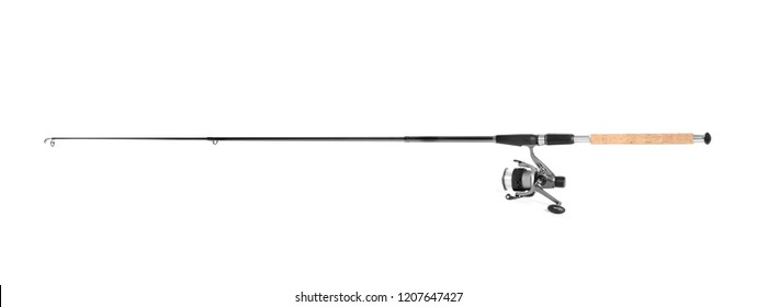 Modern fishing rod with reel on white background