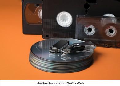 Modern flash drives and legacy storage media.