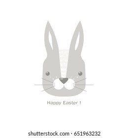 Modern flat design with cute rabbit and Happy Easter text isolated on white background