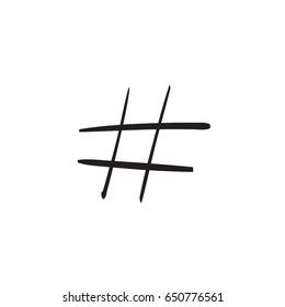 Modern flat design with hand drawn hashtag isolated on white background