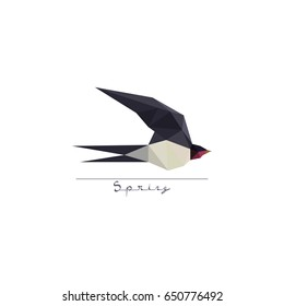 Modern flat design with origami swallow bird symbol isolated on white background