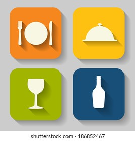 Modern Flat Food Icon Set for Web and Mobile Application in Stylish Colors  Illustration