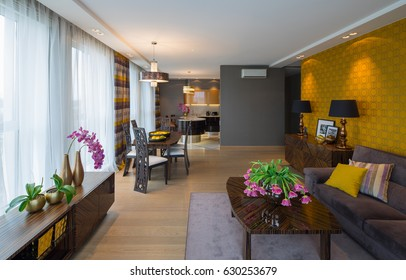 Modern flat interior, studio. Guest room, Kitchen, Dining room.