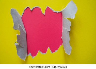 Modern flat lay background with color fragmentary paper. Yellow and pink.