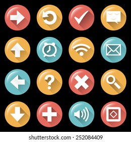 Modern flat white icons collection with long shadow and glow effect and in stylish colors of web design objects isolated