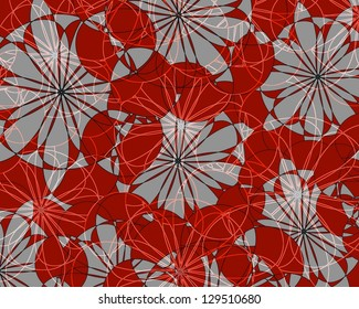 Modern floral  abstract design superimposed on a plain grey background  and perfect for subdued wallpaper themes.