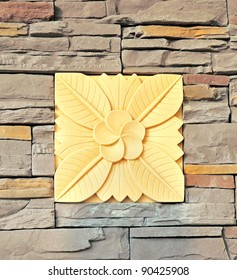 Modern flower carved on the wall