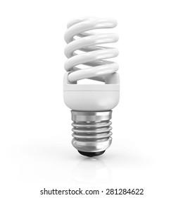 Modern Fluorescent Light Bulb isolated on white background