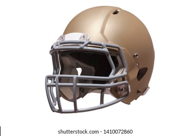 Modern football helmet in gold isolated on a white background